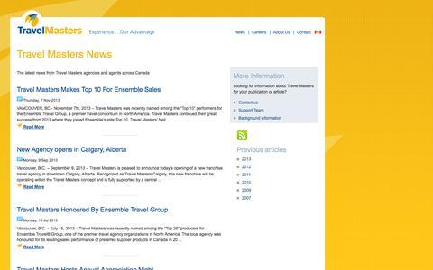 Screenshot of Press Page travelmasters.ca - Travel Masters News & Media - captured Oct. 7, 2014
