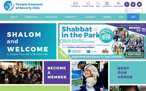 Screenshot of Home Page tebh.org - Shalom and Welcome - Temple Emanuel Beverly Hills - captured Oct. 18, 2018