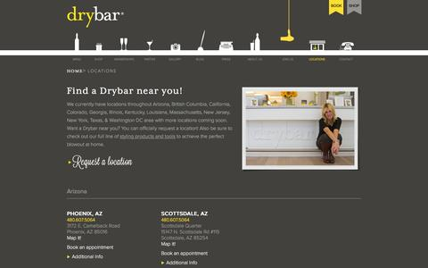 Screenshot of Locations Page thedrybar.com - Find A Drybar Location Near You - The Premier Blow Out Bar - captured April 30, 2016