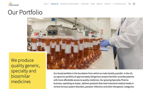 Screenshot of Products Page amneal.com - Our Portfolio - Amneal Pharmaceuticals - captured Oct. 10, 2018