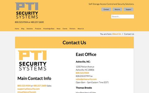 Screenshot of Contact Page ptisecurity.com - Contact PTI Security Systems - captured July 11, 2017