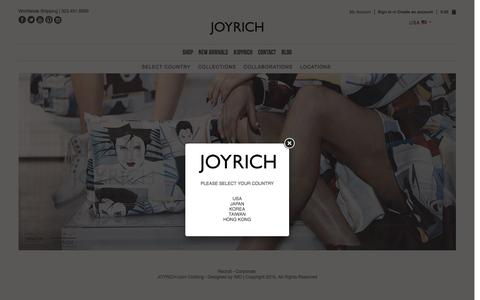 Screenshot of Home Page joyrich.com - HOME | Joyrich USA - captured Dec. 4, 2015