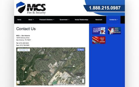 Screenshot of Contact Page mcsfiresecurity.com - MCS Fire & Security – Contact Us - captured Aug. 2, 2015