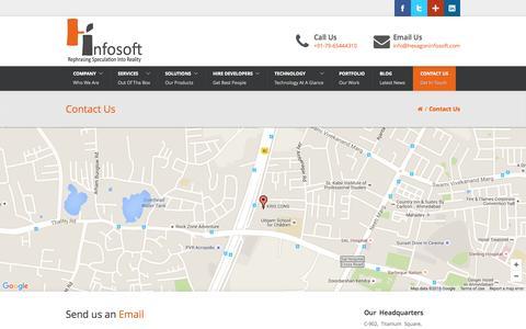 Screenshot of Contact Page hexagoninfosoft.com - Contact Hexagon Infosoft Solution for Mobile apps, website Development - captured Oct. 1, 2015