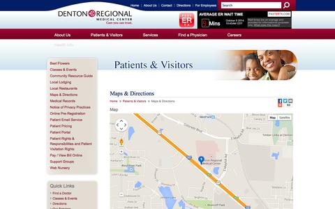 Screenshot of Maps & Directions Page dentonregional.com - Maps & Directions - Denton Regional Medical Center   Denton, TX - captured Oct. 5, 2014