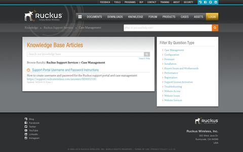 Screenshot of Support Page ruckuswireless.com - Ruckus Support Services | Knowledge Base | Ruckus Wireless Support - captured Dec. 12, 2016