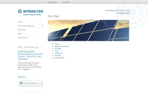 Screenshot of Site Map Page myriadceg.com - Site Map | Renewable Energy Solutions & Technologies | Myriad CEG - captured Oct. 7, 2014