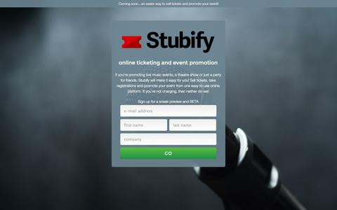 Screenshot of Home Page stubmatic.com - Stubify - online ticketing and event promotion - captured Sept. 12, 2014