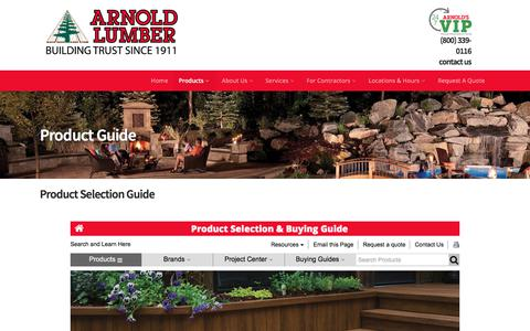 Screenshot of Products Page arnoldlumber.com - Product Guide - Arnold Lumber - captured Oct. 8, 2017