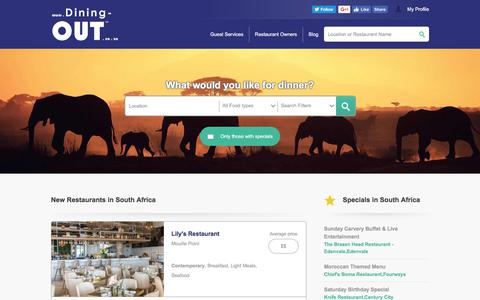 Screenshot of Home Page dining-out.co.za - Your South African Restaurant Guide - Dining-OUT.co.za - captured June 4, 2017