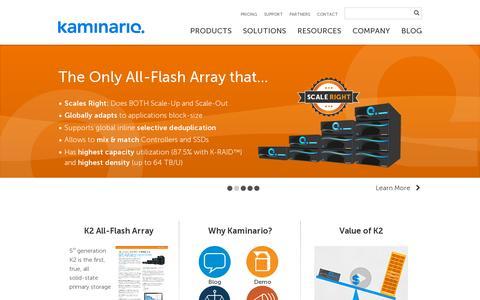 Screenshot of Home Page kaminario.com - Kaminario - All-Flash Array - captured July 11, 2014