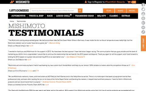 Screenshot of Testimonials Page mishimoto.com - Testimonials - captured Aug. 12, 2016