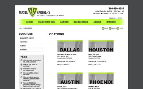Screenshot of Locations Page wastepartners.com - Locations | Waste Partners Environmental - captured Oct. 10, 2014