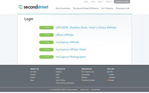 Screenshot of Login Page secondstreet.com - Login   Second Street - Second Street Online Promotions Platform - captured Sept. 18, 2014