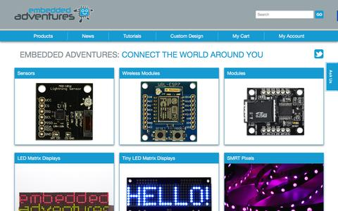 Screenshot of Home Page embeddedadventures.com - Embedded Adventures - captured Dec. 9, 2015