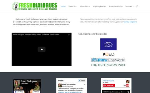 Screenshot of Home Page freshdialogues.com - Fresh Dialogues | Lively interviews with visionaries, business leaders and cultural icons - captured Aug. 3, 2015