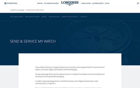 Screenshot of Support Page longines.com - Send & Service My Watch - captured Sept. 22, 2018