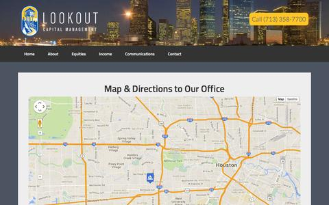 Screenshot of Maps & Directions Page lookoutcap.com - Map - Lookout Capital Management | Houston Independent Investment Advisor - captured Feb. 1, 2016