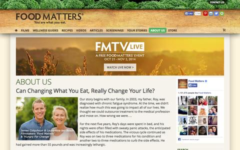 Screenshot of About Page foodmatters.tv - About Us - captured Oct. 29, 2014