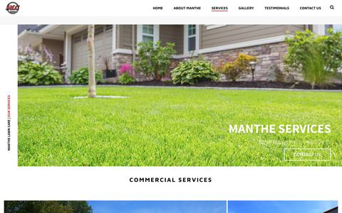 Screenshot of Services Page manthelawncare.com - Commercial Landscaping and Lawn Care | Manthe Lawn Care - Madison - captured Nov. 6, 2018
