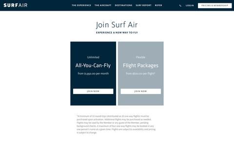 Screenshot of Signup Page surfair.com - Private Air Membership | Surf Air - captured Aug. 2, 2017