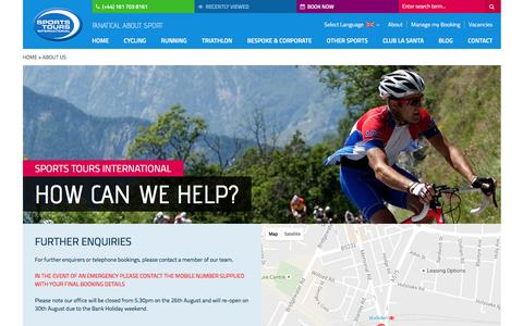 Screenshot of Contact Page sportstoursinternational.co.uk - Contact | Sports Tours - captured Aug. 30, 2016