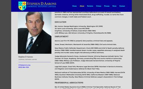 Screenshot of About Page aarons.org - About - Criminal Defense Lawyer Stephen D Aarons - captured Nov. 20, 2016