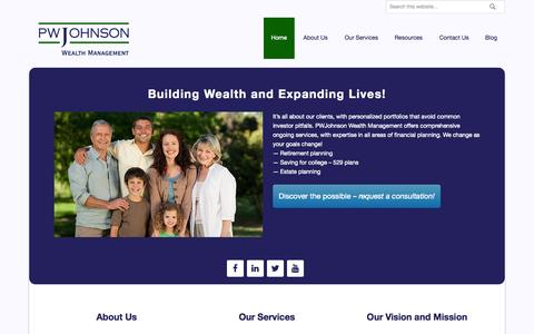 Screenshot of Home Page pwjohnson.com - PWJohnson Wealth Management – Building Wealth, Expanding Lives - captured June 18, 2015