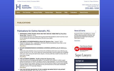 Screenshot of Testimonials Page chgjtlaw.com - Client Testimonials | Collins Hannafin, P.C. in Danbury, CT - captured Oct. 3, 2014