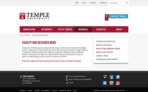 Faculty and Research News | Temple University