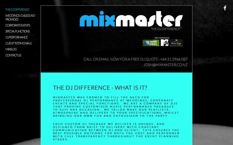Screenshot of Home Page mixmaster.co.nz - MIXMASTER - captured Sept. 30, 2014