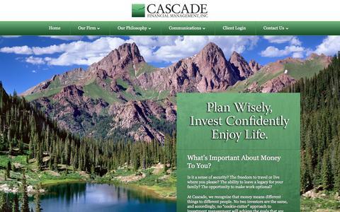 Screenshot of Home Page cascade-inc.com - Cascade Financial Management - captured Oct. 2, 2014