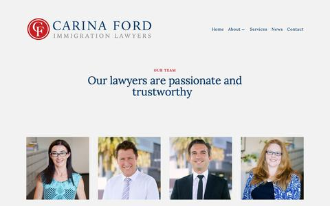Screenshot of Team Page carinafordlawyers.com - Our Team — Carina Ford Immigration Lawyers - captured Feb. 17, 2019