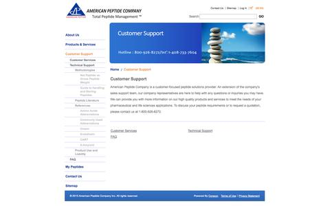 Screenshot of Support Page americanpeptide.com - Customer Service: American Peptide Company - captured Oct. 4, 2014