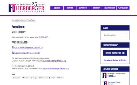 Screenshot of Press Page herbergertheater.org - Press Room – Herberger Theater Center - captured Nov. 2, 2014