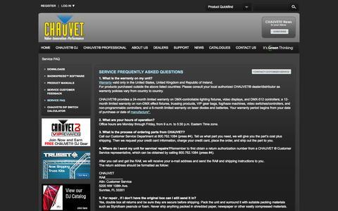 Screenshot of Support Page chauvetlighting.com - CHAUVET FAQ Customer Service Feedback    CHAUVET® Lighting - captured Sept. 23, 2014