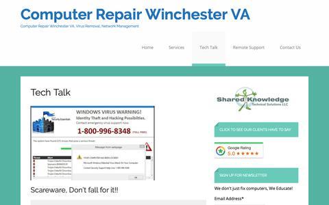 Screenshot of Blog sharedknowledgets.com - Tech Talk – Computer Repair Winchester VA - captured Oct. 18, 2018