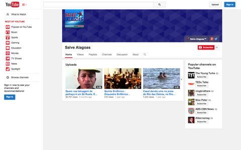 Screenshot of YouTube Page youtube.com - Salve Alagoas  - YouTube - captured Oct. 23, 2014