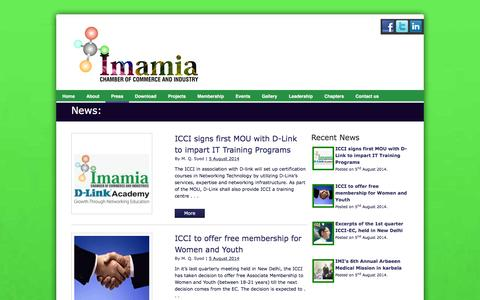 Screenshot of Press Page icci.co.in - News - Imamia Chamber of Commerce and Industry - captured Feb. 10, 2016