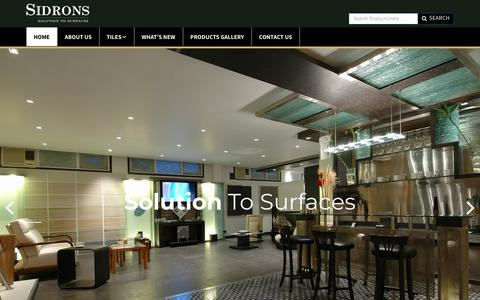 Screenshot of Home Page sidrons.com - Imported Tiles in Delhi, Bathroom Floor Wall Tiles in Delhi | Sidrons - captured Sept. 21, 2018