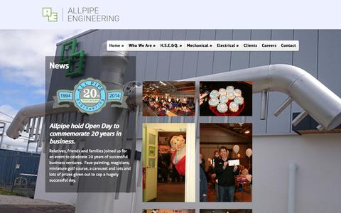 Screenshot of Press Page all-pipe.co.uk - News   Allpipe Engineering - captured Oct. 4, 2014