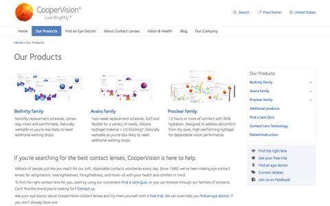 Screenshot of Products Page coopervision.com - Multifocal Contact Lenses & Best Contact Lenses for Clear Vision | CooperVision - captured Sept. 19, 2014