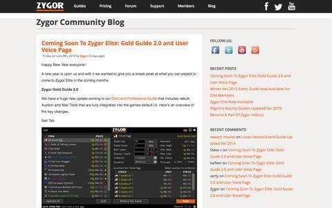 Screenshot of Blog Press Page zygorguides.com - Zygor Guides - captured Jan. 10, 2016