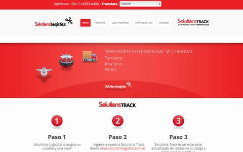 Screenshot of Home Page solutionslogistics.com.ar - Solutions Logistics - captured Oct. 6, 2014