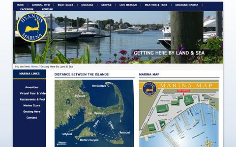 Screenshot of Maps & Directions Page hyannismarina.com - Directions By Land and By Sea - Hyannis Marina - captured Feb. 2, 2016