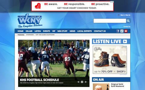Screenshot of Home Page 1490wkny.com - 1490 WKNY –  The Kingston Station – Poughkeepsie News Radio - captured Oct. 10, 2015