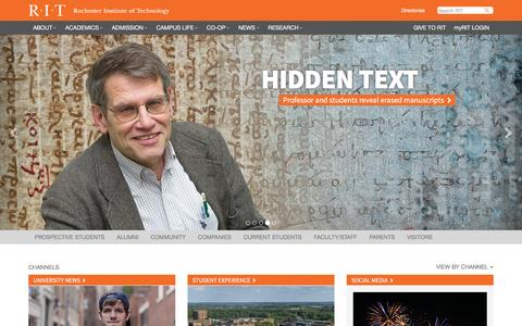 Screenshot of Home Page rit.edu - Rochester Institute of Technology - captured July 3, 2016