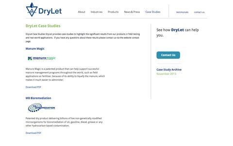 Screenshot of Case Studies Page drylet.com - Case Studies - DryLet - captured Sept. 30, 2014
