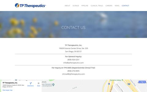 Screenshot of Contact Page tptherapeutics.com - Contact for general or clinical trial | TP Therapeutics - captured Oct. 19, 2018