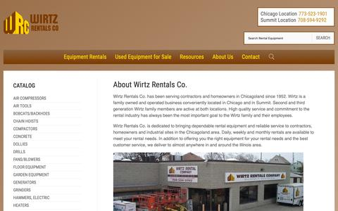 Screenshot of About Page wirtzrentals.com - About Wirtz Rentals Co. in Chicago, IL | History of Wirtz Rentals Co. serving Chicago Illinois, Summit IL, Chicagoland - captured Oct. 18, 2018